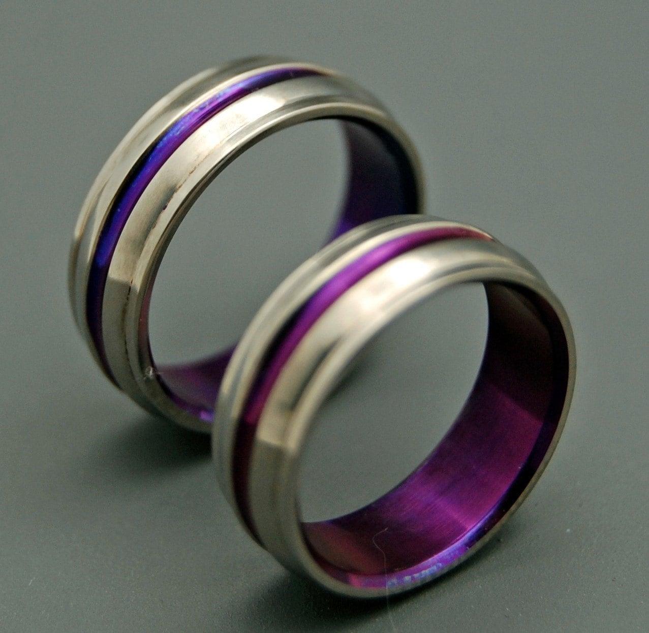 titanium wedding bands wedding rings purple wedding rings zoom