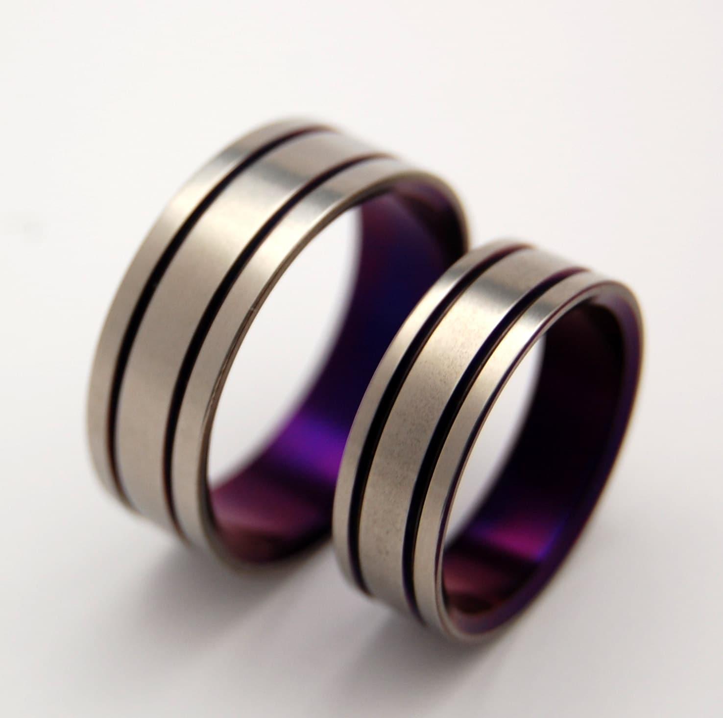 mens titanium ring mens titanium wedding rings Titanium Wedding Band Set purple wedding ring mens ring womens ring handmade ring custom made ring matching wedding set ALMA MATER