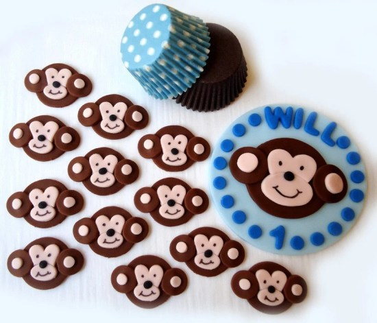 Fondant Cake, Cupcake Toppers - Monkey Boy Deluxe Party Package