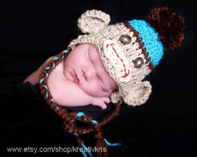 Blue/Brown Sock Monkey Earflap Baby Cap 0-3 months