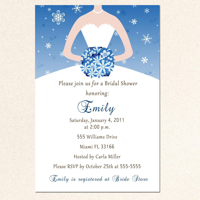 winter wedding shower invitations wedding shower invitation template Winter Bridal Shower Invitation Card Snowflake Silver Blue