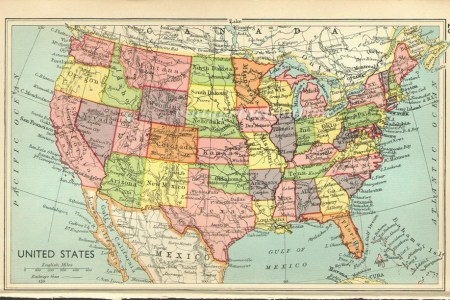 vintage map north america united states by vintageinclination