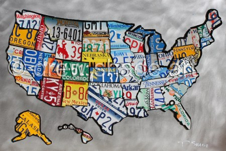items similar to united states map license plate map 20x30