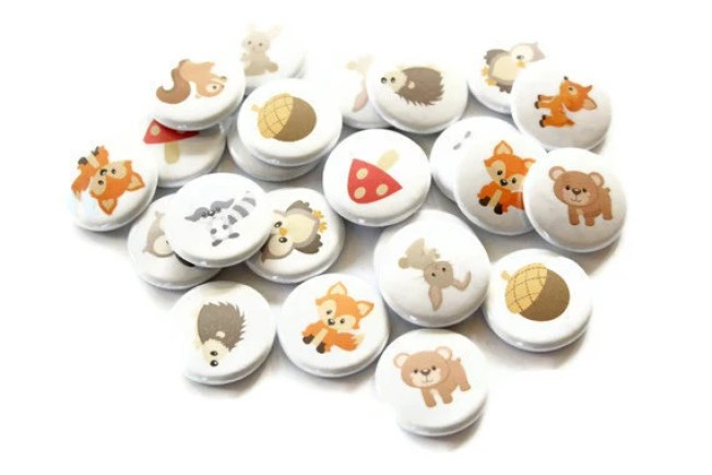 Flatback Buttons - Set of 24 Cabochons - Woodland Animal Craft Buttons