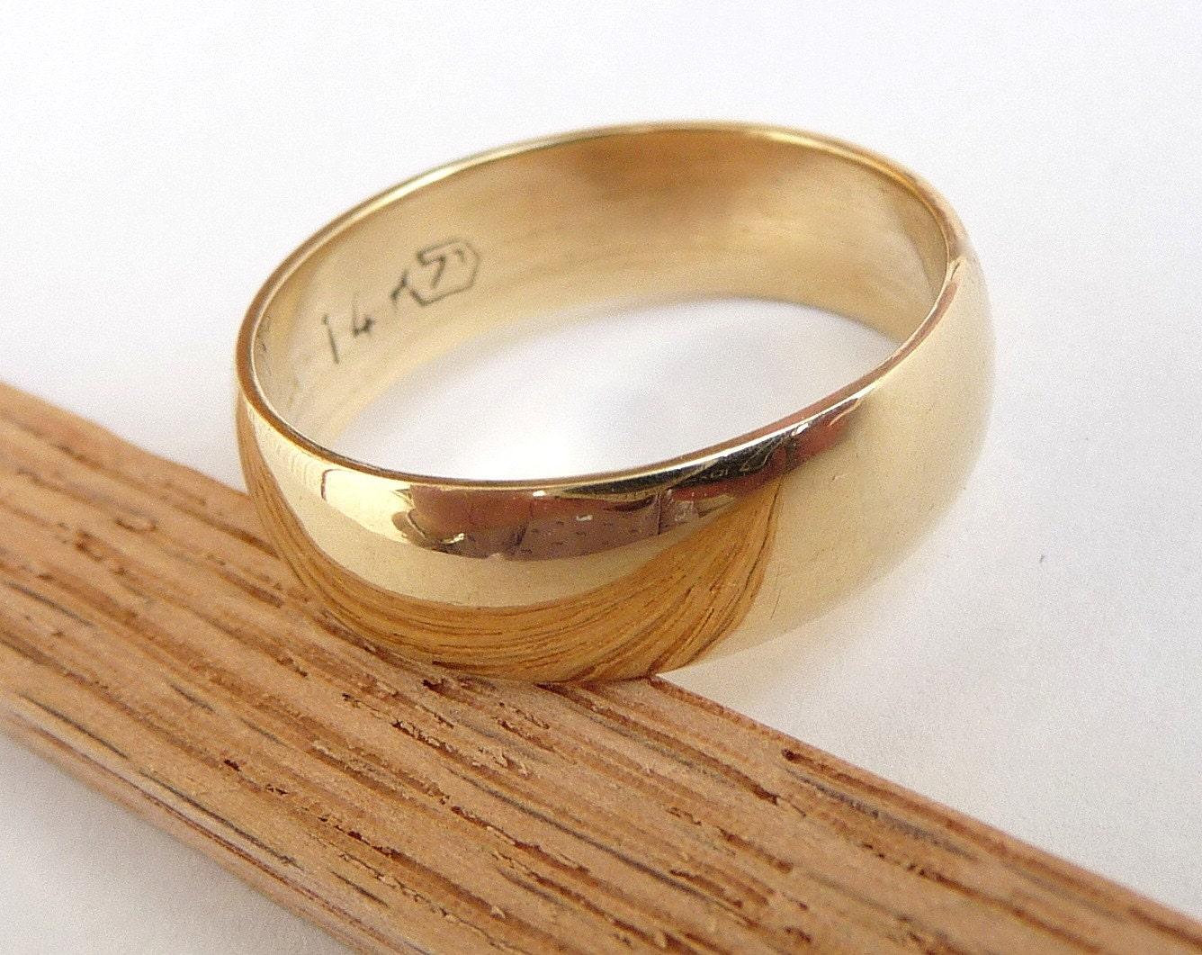 mens wedding band polished shiny domed gold wedding bands zoom