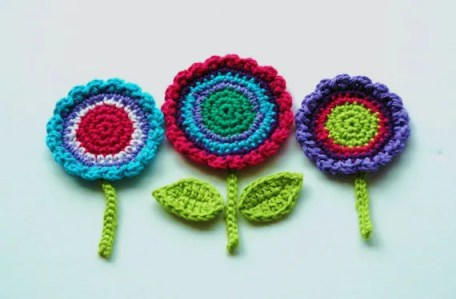 Crochet Flower Motifs  -  Purple, Turquoise, Pink