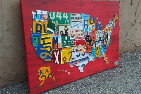 license plate map of the united states metal artwork