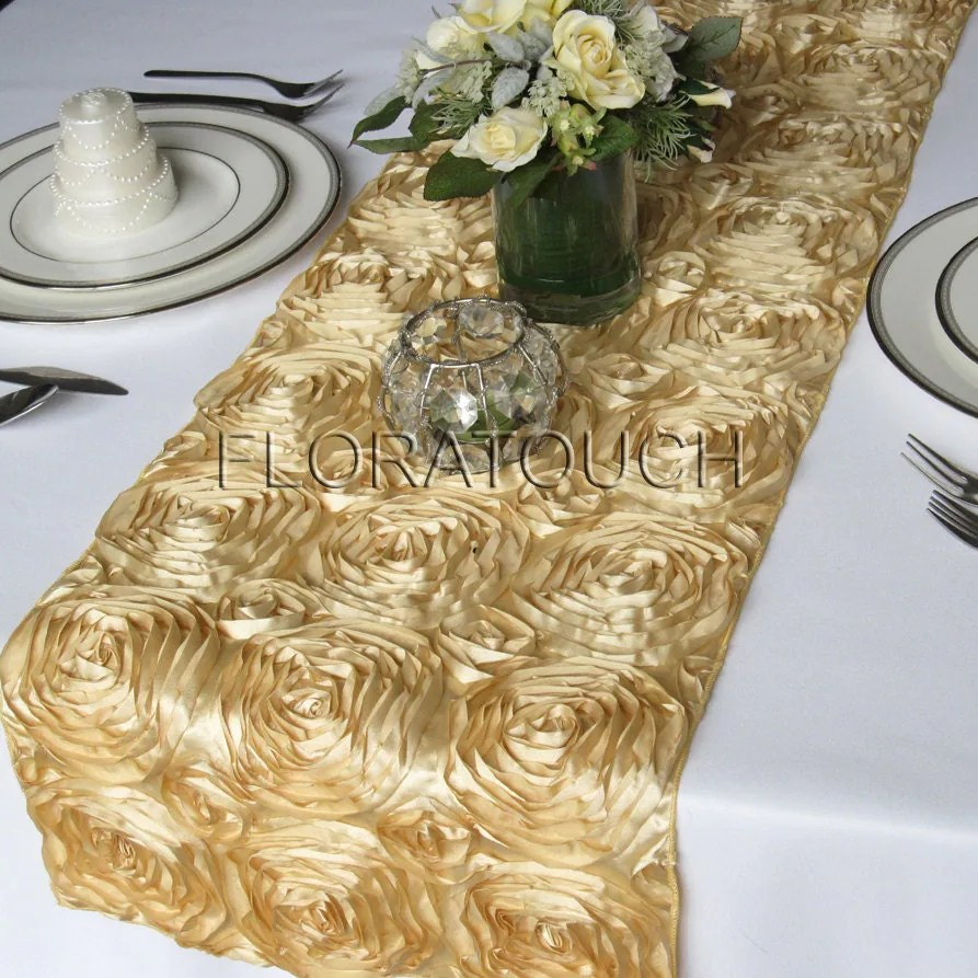 gold satin ribbon rosette wedding table wedding table runners Wedding Table Runner zoom