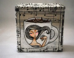 Mixed Media Original Coffee Girl by Painting Bliss
