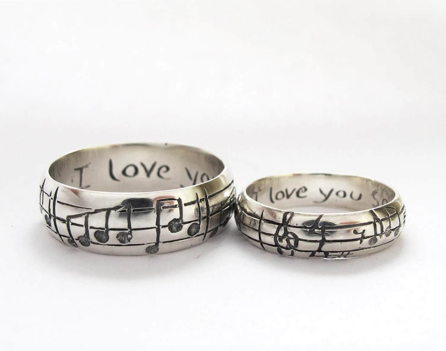 your song wedding rings any song one of unique wedding band sets zoom