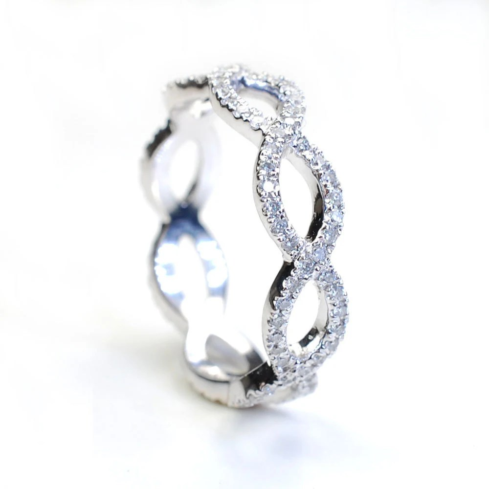 diamond ring diamond wedding band infinity diamond wedding band Diamond Infinity Band Criss Cross Ring Wedding zoom