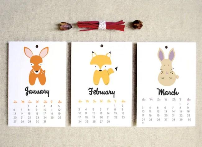 2013 Woodland Animals 5x7 Wall Calendar kids nursery eco-friendly gifts under 15