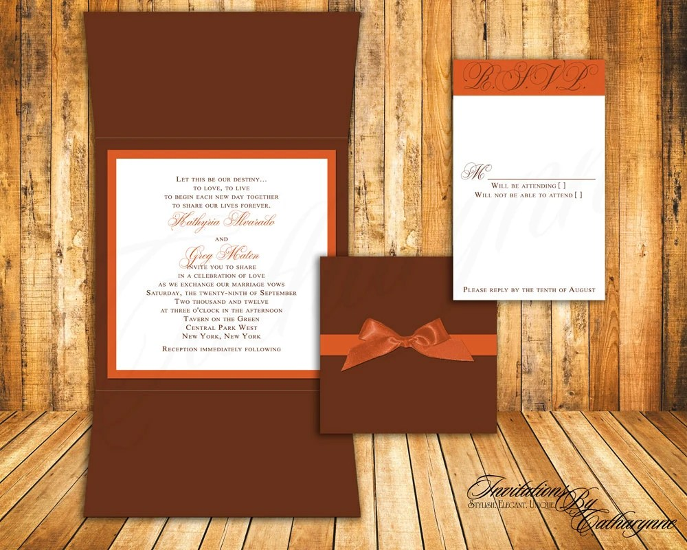 burnt orange wedding invitation cards autumn wedding invitations Fall Wedding Invitations In Orange And Brown