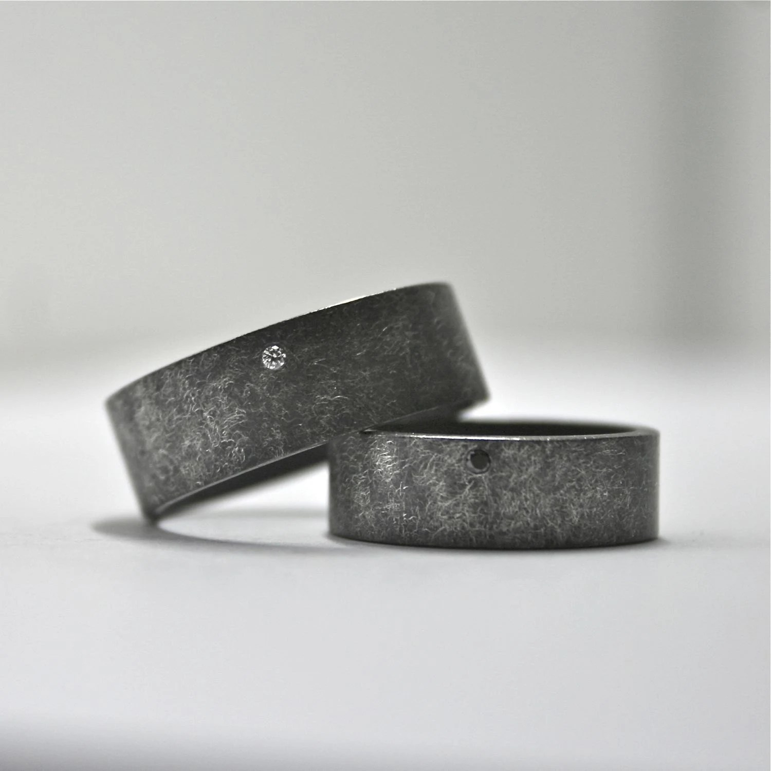 oxidized sterling silver and diamond mens unique wedding rings zoom