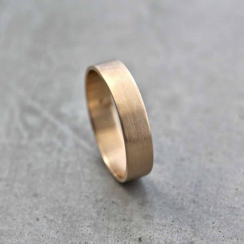 mens gold wedding band unisex 5mm wide gold wedding bands Gold Wedding Ring zoom