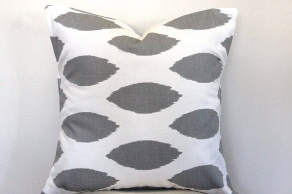 Gray Ikat Pillow.ALL SIZES.Pillow by LittleYellowNest on Etsy