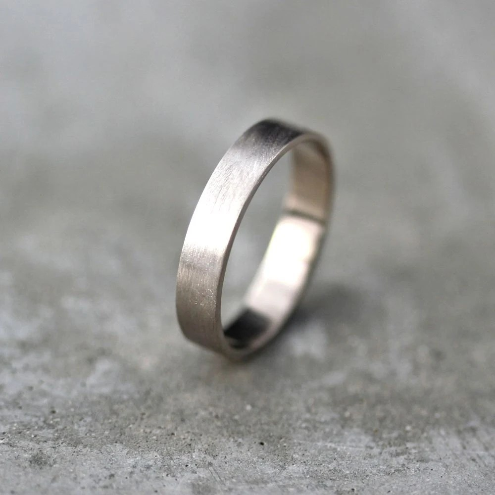 palladium ring palladium wedding rings Men s Gold Wedding Band Unisex 4mm Brushed Matte Flat 14k Recycled Palladium White Gold Wedding Ring Eco Gold Ring Made in Your Size