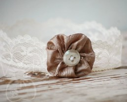 Princess Laura cream lace & taupe yo yo tiara newborn crown photo prop hair accessory RTS
