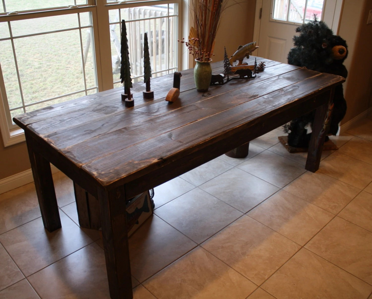 farmhouse bench country kitchen tables Beautiful Fishing Lake CABIN Dark Walnut Stained Primitive FARM HOUSE Country Farmhouse Kitchen Table Custom Sizes Colors Avail