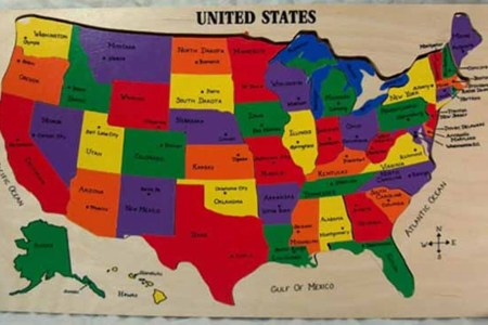 us map puzzle with state capitals. teaching and by