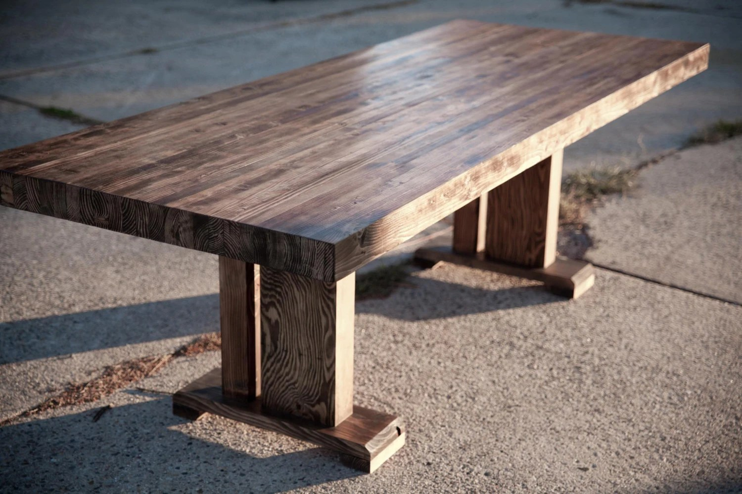 butcher block butcher block kitchen table Butcher Block Table Solid Wood Farmhouse Dining Table Conference Table Trestle Table Base Pedestal Table