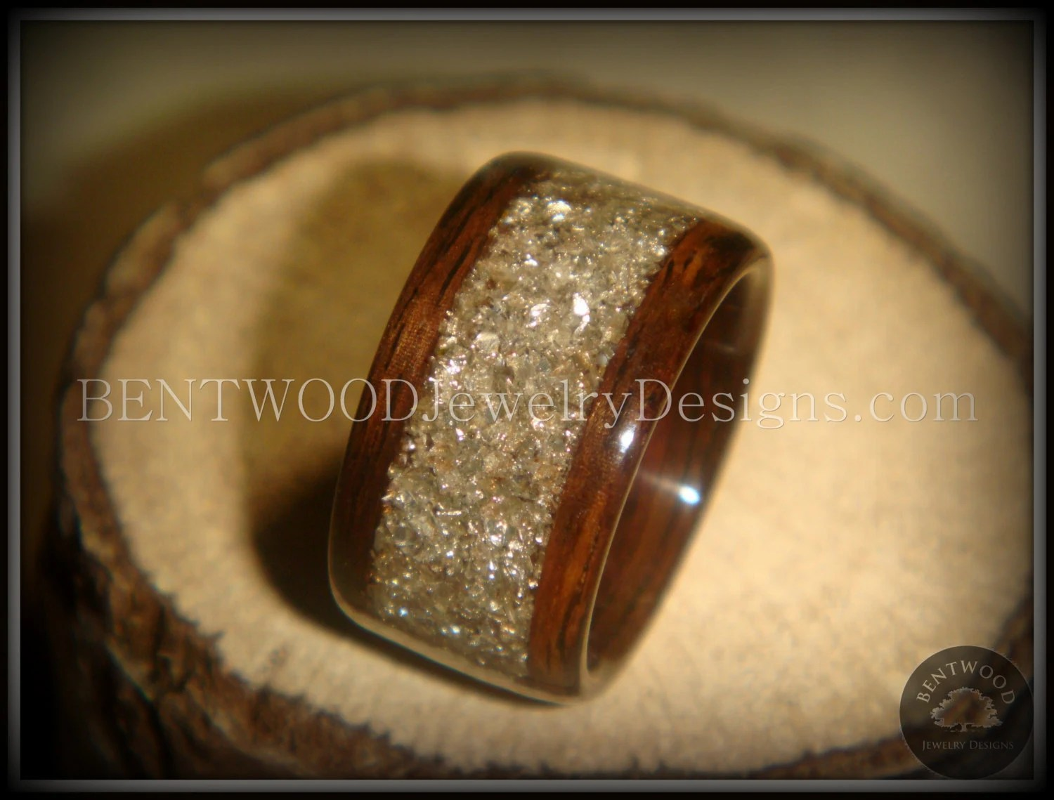ebony wood ring wood wedding rings Bentwood Ring Rosewood Wood Ring Silver Glass Inlay durable and beautiful wooden engagement ring wood wedding ring or wood ring gift