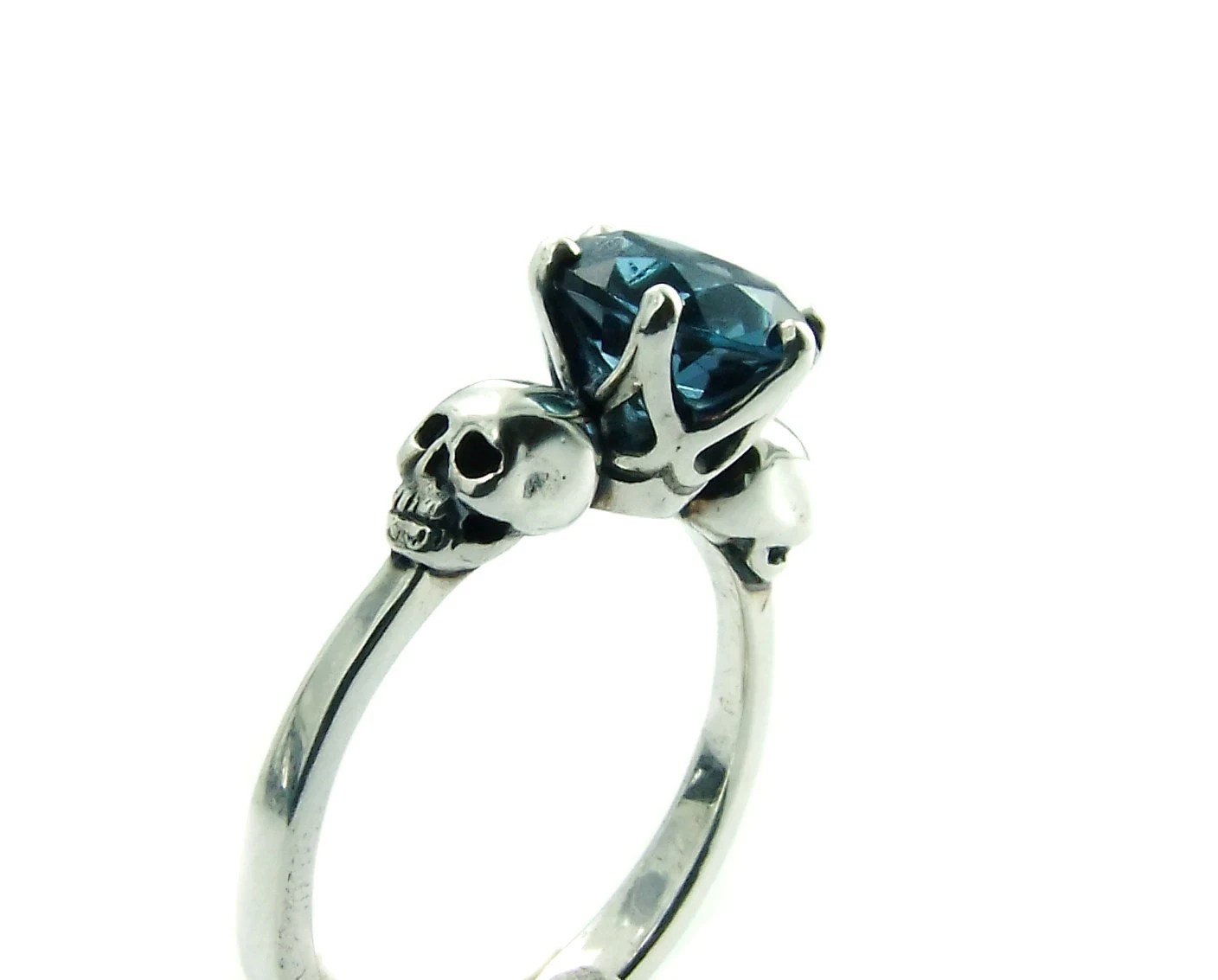 skull engagement ring blue topaz mens skull wedding rings zoom