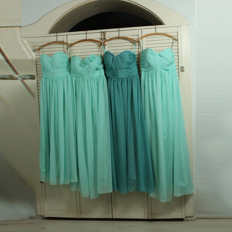 dusty shale dress teal dresses for wedding Bridesmaid Dress Teal Mix and Match Prom Dress Dusty Shale Wedding Dress Mint Long Chiffon Formal Dress B B B
