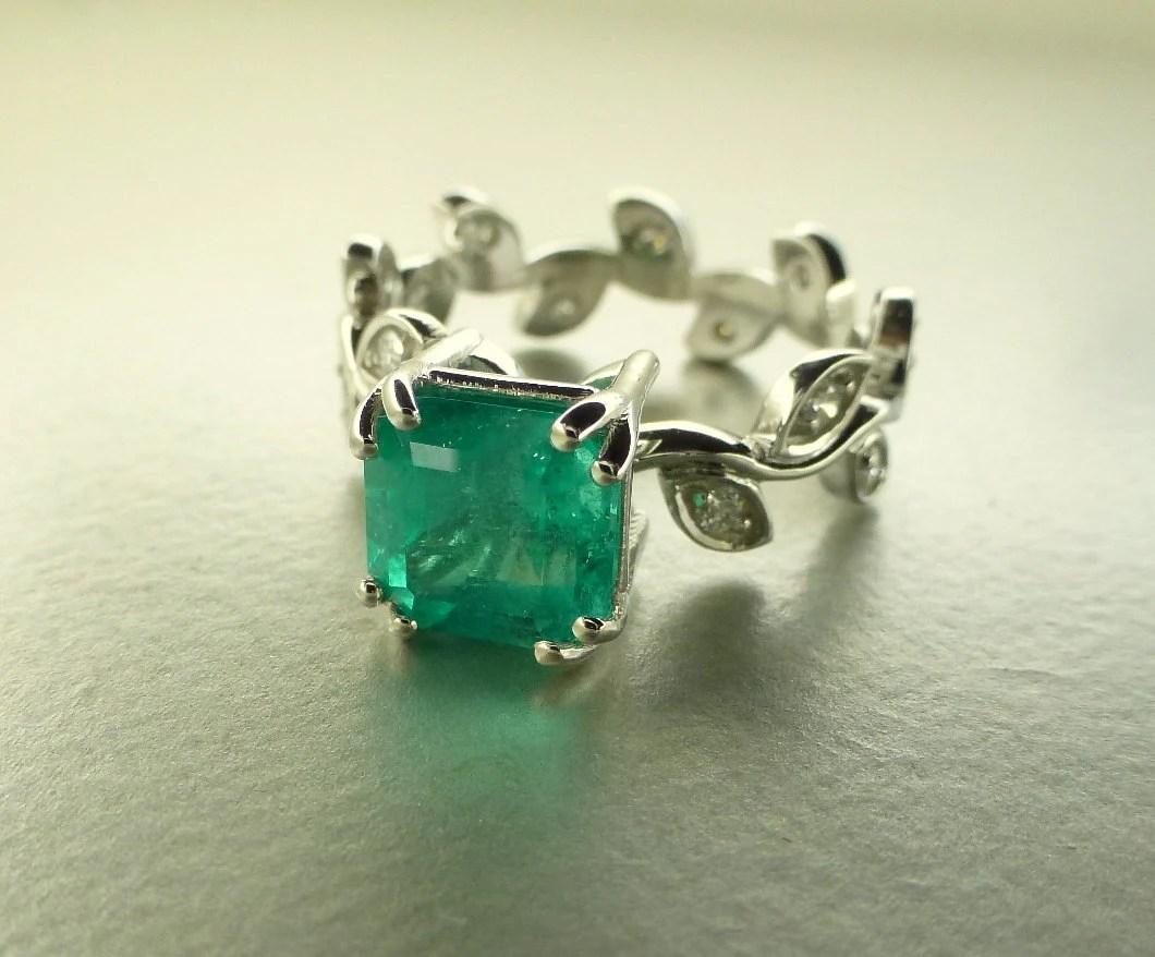 emerald leaves ring emerald wedding rings Emerald leaf ring Emerald engagement ring Emerald cut Emerald ring Diamond leaf ring Anniversary emerald ring 14k white gold ring