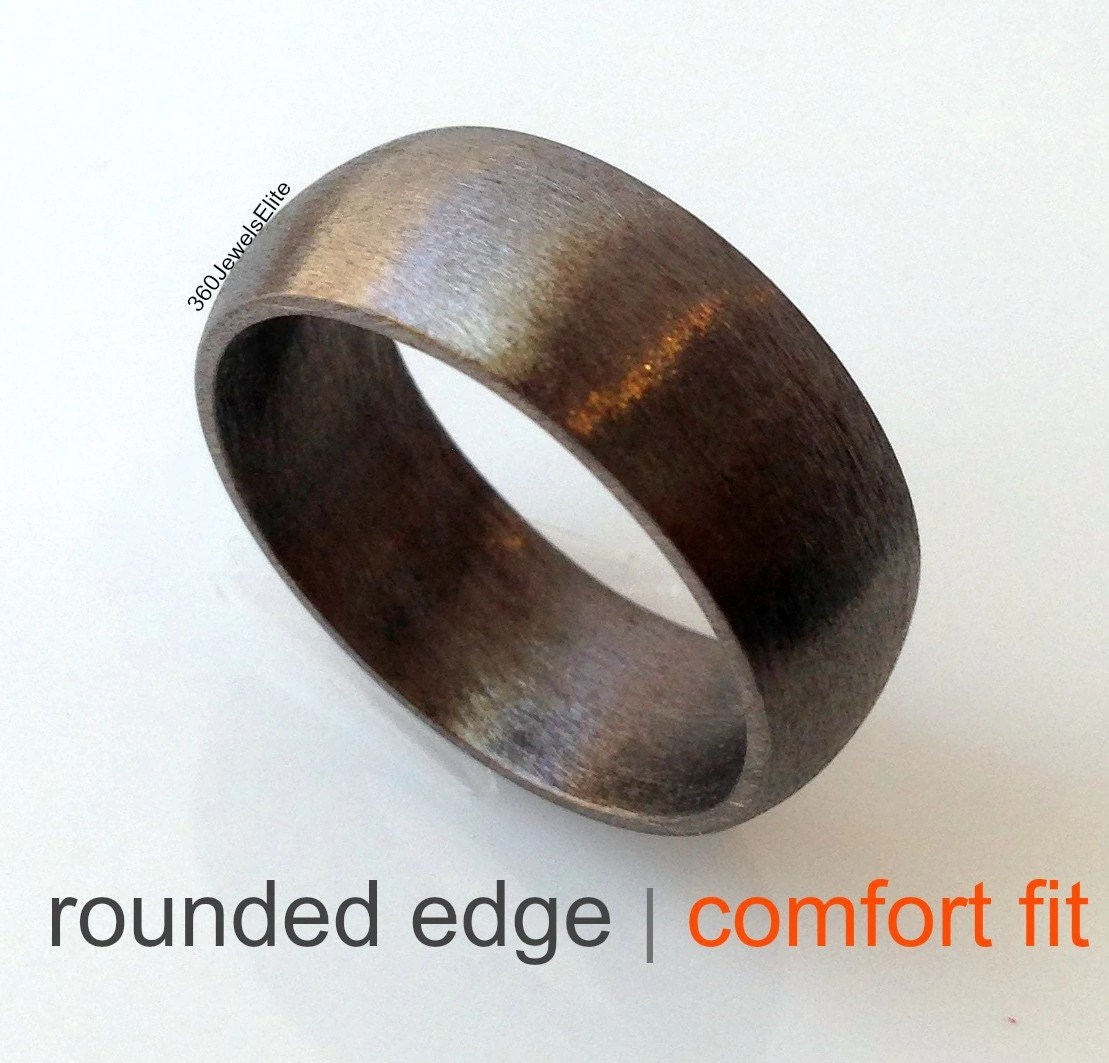 domed wedding band mens black wedding rings Comfort fit wedding band elysian black wedding ring for men domed ring rounded edge ring brushed finish wedding ring ring for him