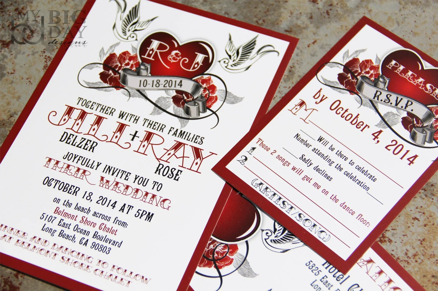 rockabilly wedding invitation set with sparrow lovebirds and roses steampunk heart wedding invitations steampunk wedding invitations Rockabilly Wedding Invitation Set with sparrow lovebirds and roses Steampunk heart wedding invitations
