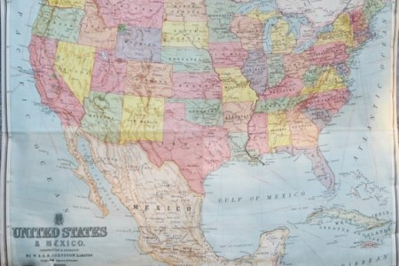 united states mexico map vintage school by