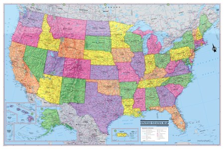 usa united states map poster 36x24 rolled canvas