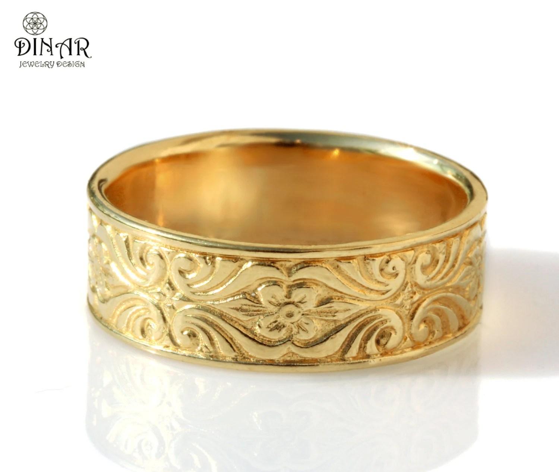 scroll wedding band wedding ring engraving 14k gold wedding band Vintage Design 7mm wide ring Engraved Floral pattern women s wedding band thick ring men s gold wedding band