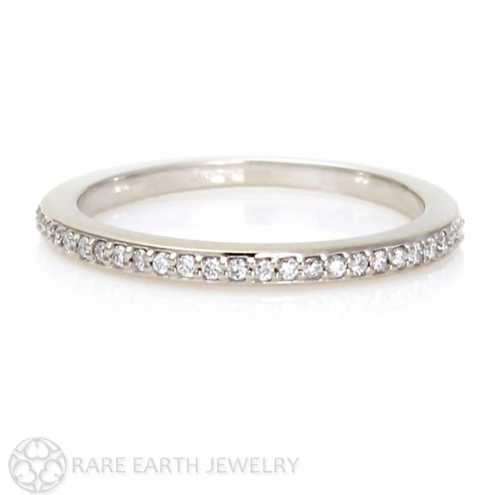 white sapphire band sapphire wedding bands White Sapphire Wedding Band Sapphire Anniversary Band 14K 18K Gold Platinum Palladium Sapphire Ring Stacking Ring