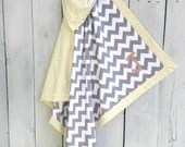 """Soft spring sunshine: Personalized Baby Blanket Chevron Gray and Yellow Dot Newborn Blanket Reversible for Baby Shower Gift, Crib and Stroller 38"""" X 38"""""""