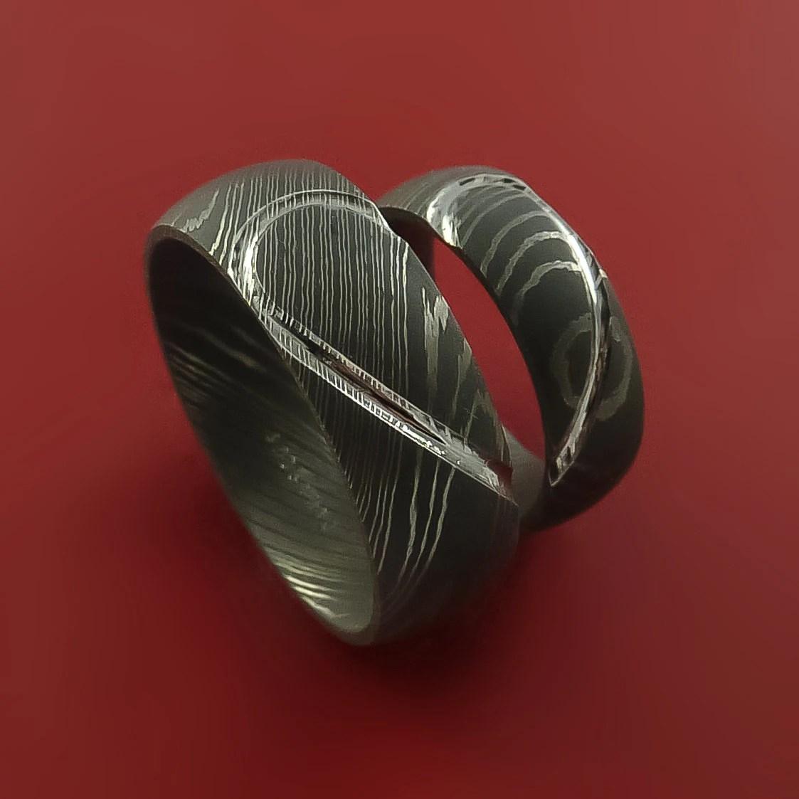 matching damascus steel heart carved damascus steel wedding bands Matching Damascus Steel Heart Carved Ring Set Wedding Bands Genuine Craftsmanship zoom