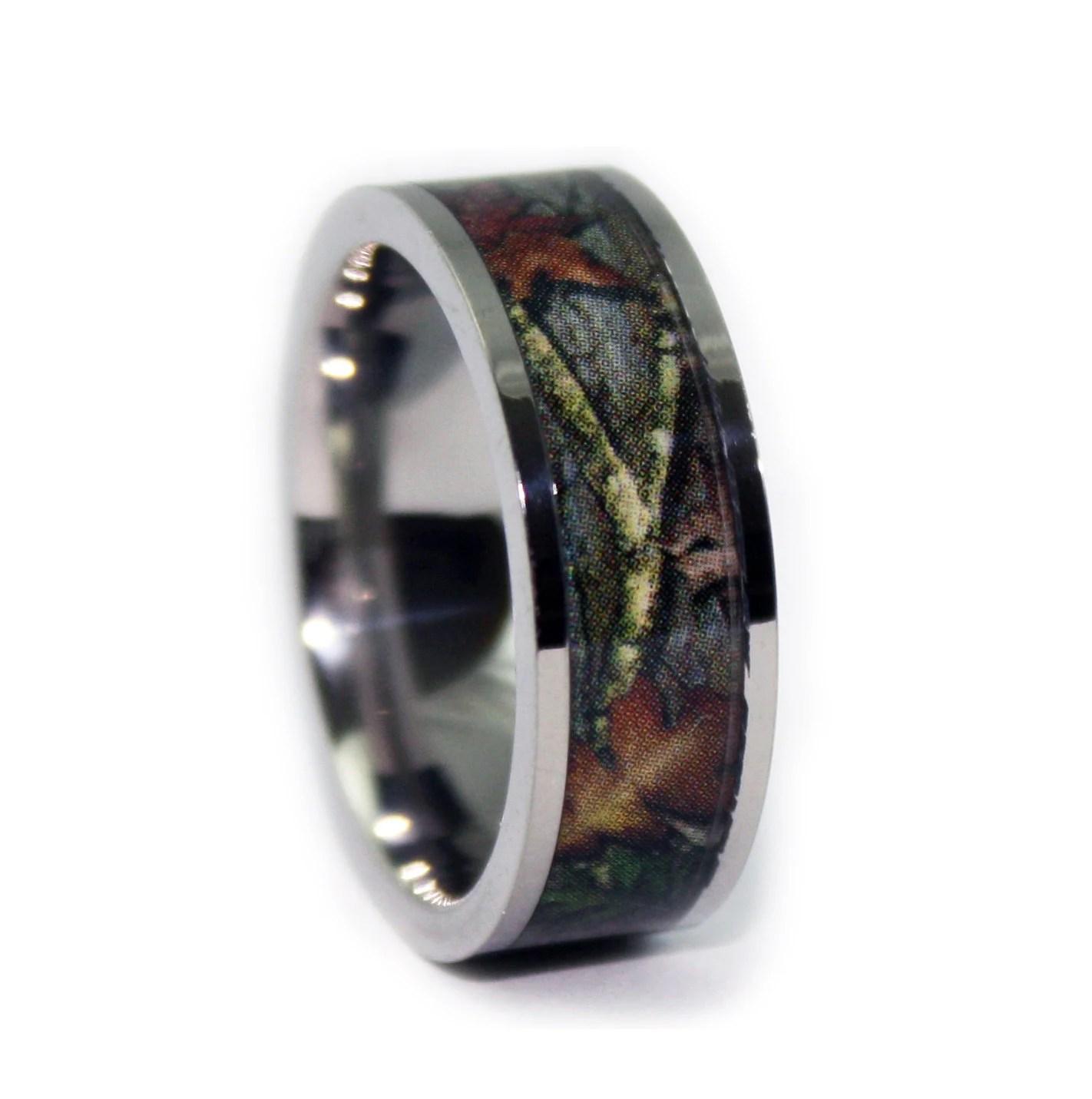 camo wedding rings deer wedding bands Camo Wedding Rings by ONE CAMO Flat Titanium Mens Wedding Band Camo Engagement Rings