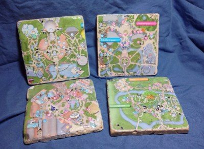 Walt Disney World park map coasters - all 4 parks  - sealed tumbled marble