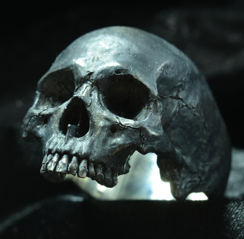 Bakogiorgis mens skull wedding rings Into The Fire Jewelry Skull ring Large half jaw silver mens skull biker masonic rock