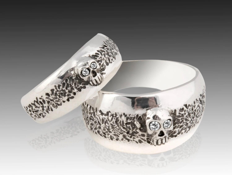 skull ring mens skull wedding rings Skull Wedding Ring Set Sterling Silver Skull Wedding Ring set with Diamonds
