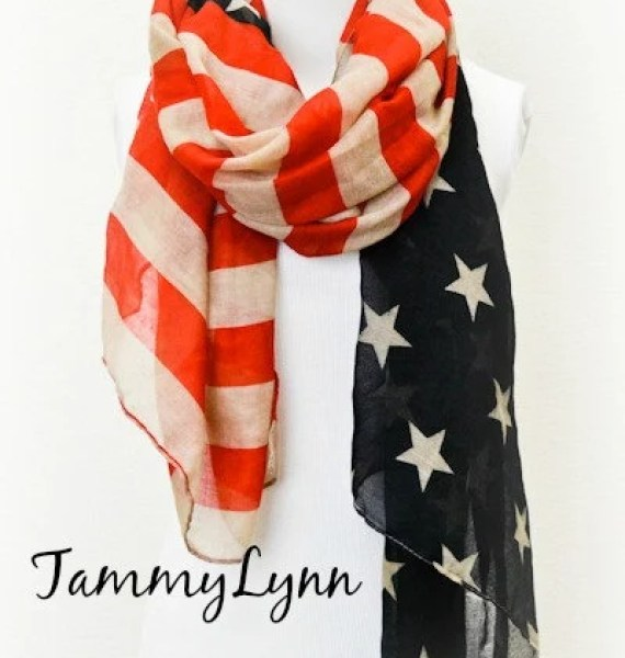 NEW! Vintage Patriotic LONG Flag Scarf USA Fourth of July Stars & Stripes Military Women's Accessories Gift Idea