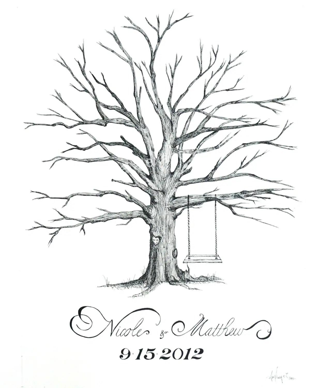 hand drawn medium thumbprint tree wedding tree zoom