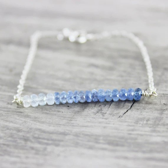 Birthstone Bracelet, Blue Sapphire Bracelet, Shaded Sapphire Bracelet, Sapphire Gemstone Bracelet, Sterling Silver Chain, Light Blue
