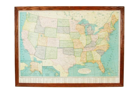 vintage framed crams united states map by lacklusterco on etsy