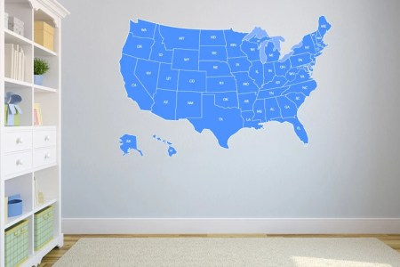 united states map wall decal us map vinyl art wall by