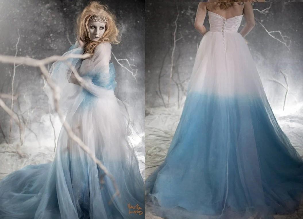 ombre wedding dress blue wedding dresses Frozen Ombre Blue Wedding Dress with Crystal Detail Couture Wedding Gown Colored Wedding Dress Pink Blue Green Yellow Orange Purple