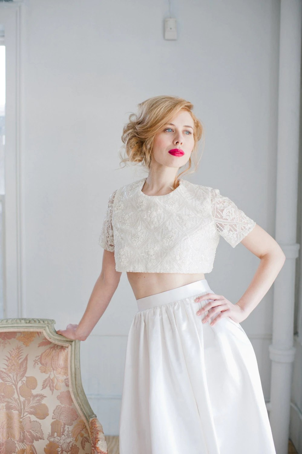 gowns crop top wedding dress Opal Beaded Lace Crop Top Wedding Dress Handmade Wedding Cropped Top Bridal Crop Top