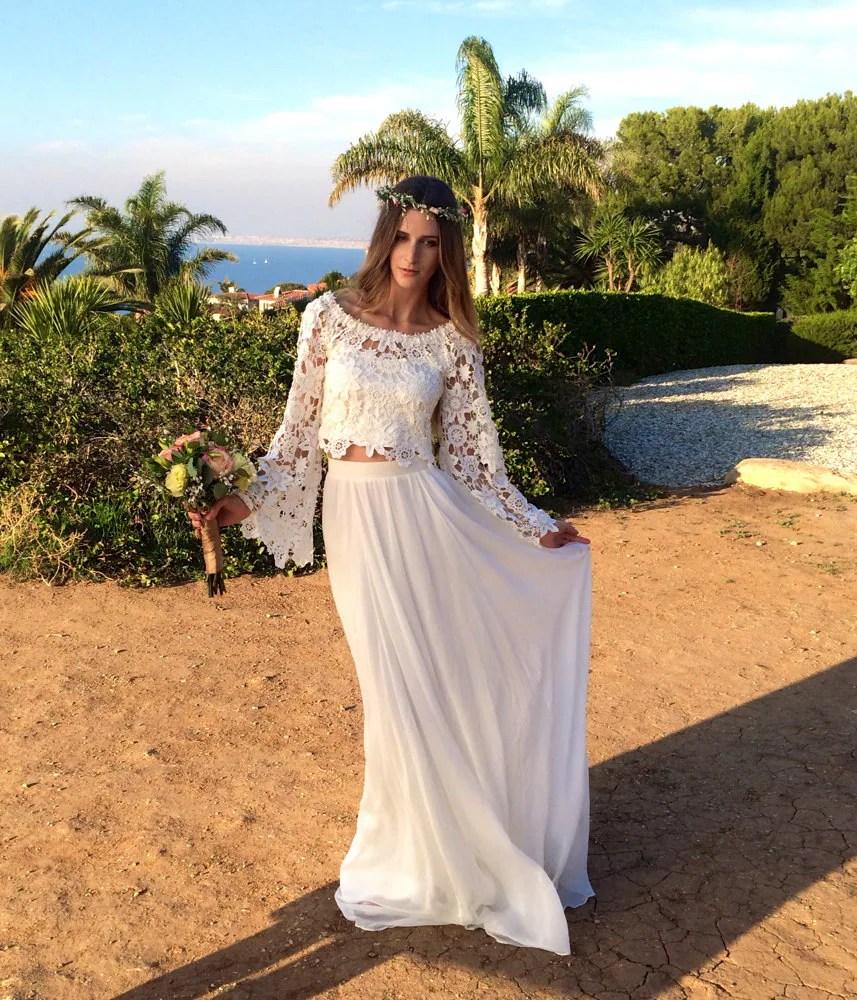 dreamy wedding dress 2 piece wedding dresses Alana 2 Piece Lace Silk Chiffon Bohemian Wedding Dress BELL SLEEVE hippie boho style wedding dress DREAMY off shoulder wedding gown