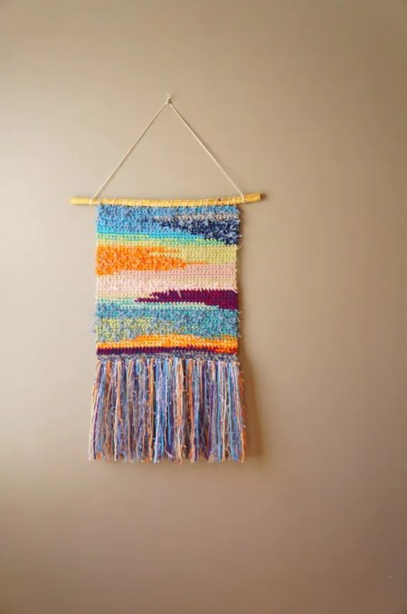 Bohemian Tapestry / Modern Wall Hanging / Woven Tapestry / Gypsy Fringe / Orange Pink Blue Green Purple / Rustic Textile / Home Décor
